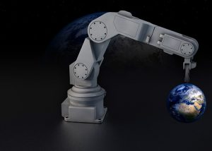 robotic-arm-holding-world-globe
